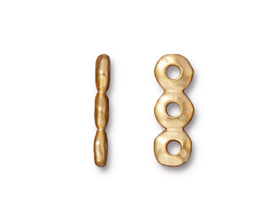 TierraCast Gold (plated) Nugget 3-Hole Bar 7x19mm