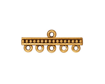TierraCast Antique Gold (plated) Beaded 5-1 Link 10x26mm