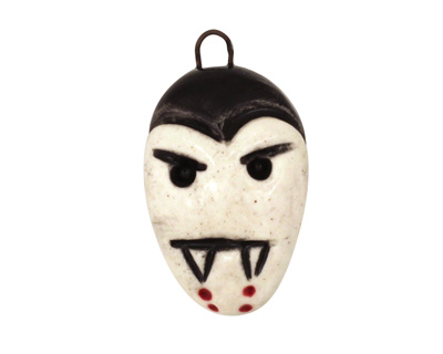 Earthenwood Studio Ceramic Spookyhead Vampie Pendant 16x27mm