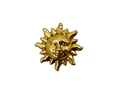 Stampt Antique Gold (plated) Sun Face Charm 20mm