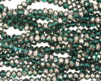 Silver & Winter Green Crystal Faceted Rondelle 3mm