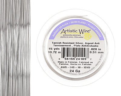 Artistic Wire Tarnish Resistant Silver 24 gauge, 15 yards
