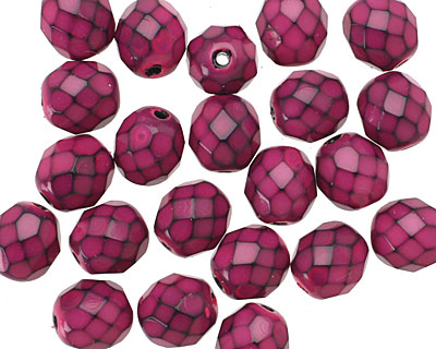 Czech Fire Polished Glass Fuchsia Round Snake Beads 8mm