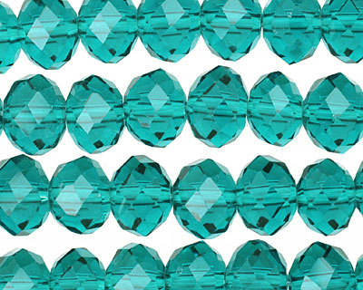 Teal Crystal Faceted Rondelle 10mm