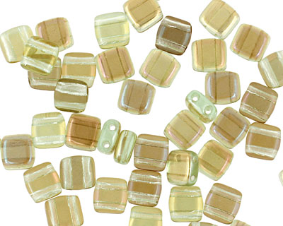 CzechMates Glass Twilight Peridot 2-Hole Tile 6mm