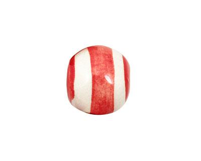 Jangles Ceramic Red/White Striped Round 15-17mm