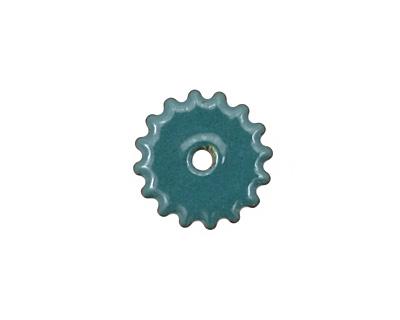 C-Koop Enameled Metal Peacock Blue Small Closed Gear 16mm