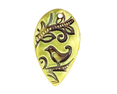 Earthenwood Studio Ceramic Acid Metal Swirly Bird Pendant 42x35mm