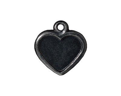 TierraCast Gunmetal Victorian Heart Frame Pendant 19mm