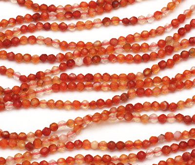 Carnelian (natural) Faceted Round 2mm