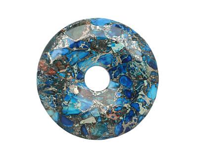 Midnight Blue Impression Jasper & Pyrite Mosaic Donut 50mm
