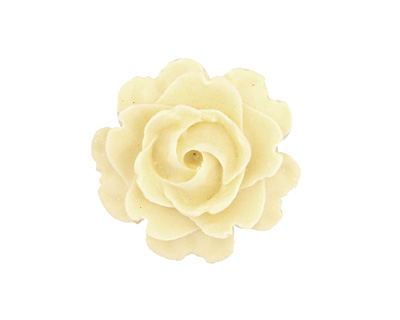 Opaque Matte Ivory Lucite Rose Cabochon 23mm