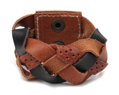 Multi Leather Braided Cuff 1 3/4