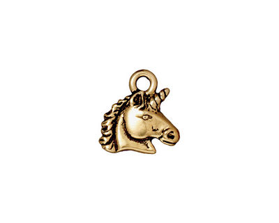 TierraCast Antique Gold (plated) Unicorn Charm 14mm