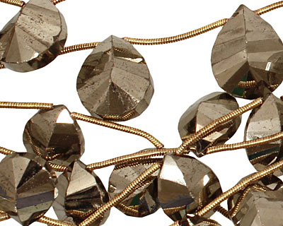 Golden Pyrite (silver tone) Faceted Teardrop 12x12-16mm