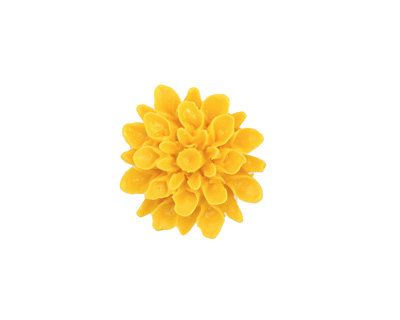 Opaque Yellow Lucite Dahlia Flower Cabochon 16mm