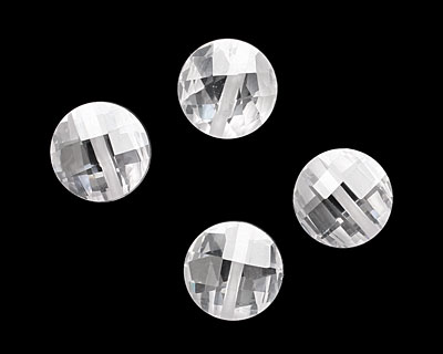 Crystal Clear Faceted Coin 10mm