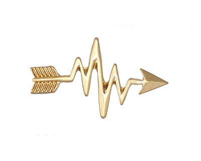 Zola Elements Matte Gold (plated) Heartbeat Arrow 3mm Flat Cord Slide 32x19mm