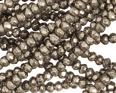 Golden Pyrite (silver tone) Faceted Rondelle 4mm