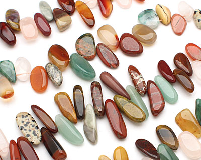 Multi Gemstone (Red Jasper, Rose Quartz, Amazonite, Aventurine) Tumbled Nugget Drop 8-15x15-28mm