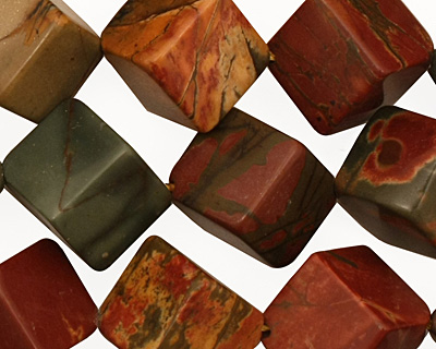 Red Creek Jasper Diagonal Drilled Cube 15mm