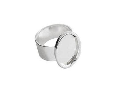 Nunn Design Sterling Silver (plated) Large Oval Frame Adjustable Ring 16x20mm