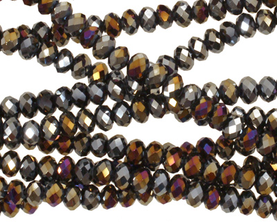 Metallic Peacock Hematite Crystal Faceted Rondelle 4mm