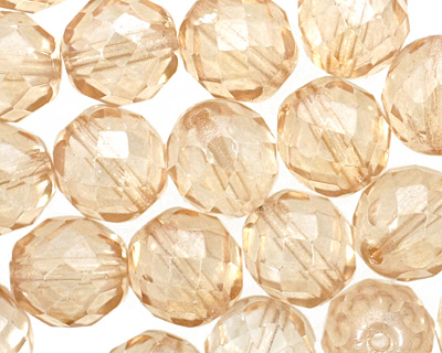 Czech Fire Polished Glass Luster Transparent Champagne Round 12mm