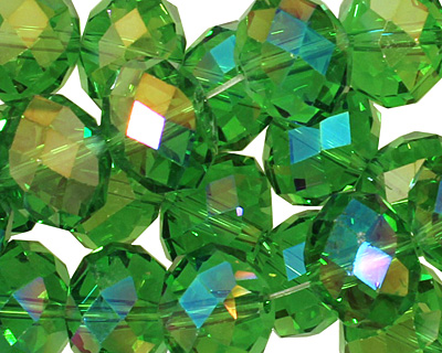 Kelly Green AB Crystal Faceted Rondelle 14mm
