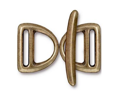 TierraCast Antique Brass (plated) Slotted D Ring Clasp Set 17x20mm, 30mm bar