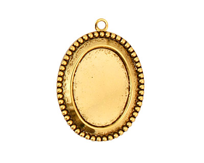 Stampt Antique Gold (plated) Beaded Edge Oval Setting 13x18mm