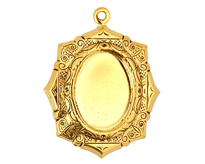 Stampt Antique Gold (plated) Egyptian Mosaic Oval Setting 13x18mm