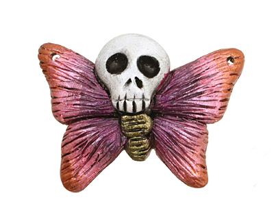 Poison Tree Polymer Clay Pink Death Poetry Butterfly 35-36x26-27mm