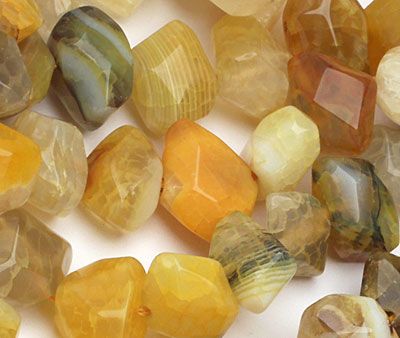 Yellow Agate Faceted Nugget 9-13x15-19mm