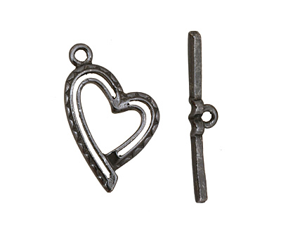 Gunmetal Stylized Heart Toggle Clasp 26x16mm, 28mm bar