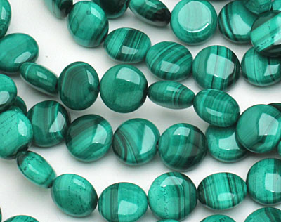 Malachite Puff Coin 10mm