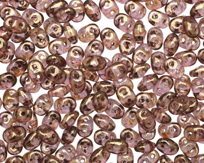 Luster Transparent Gold/Smoky Topaz SuperDuo 2x5mm Seed Bead