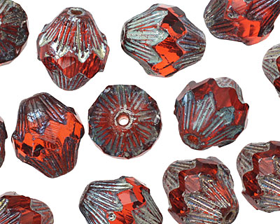 Czech Glass Rustic Red Baroque Bicone 13x11mm