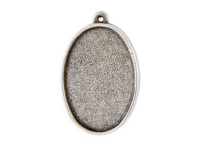 Nunn Design Antique Silver (plated) Grande Oval Bezel Pendant 44x28mm
