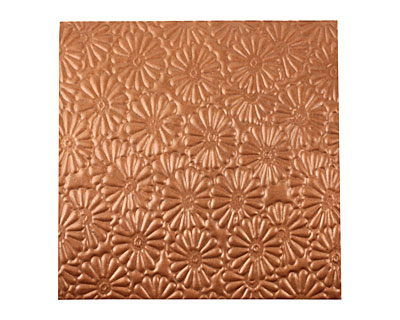 Lillypilly Antique Raised Flower Embossed Patina Copper Sheet 3