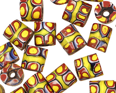 African Trade Bead (yellow, blue, red w/ chartreuse) Barrel 10-11x11mm