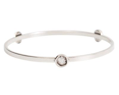Nunn Design Antique Silver (plated) Large Flat Bangle Bracelet w/ Bezels 70mm