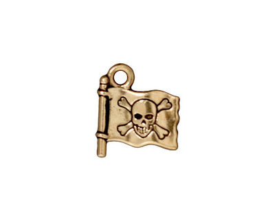 TierraCast Antique Gold (plated) Jolly Roger Charm 14x16mm