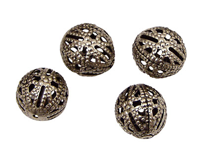 Stampt Antique Pewter (plated) Filigree Ball 12mm
