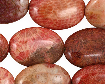 Fossil Coral (rose) Flat Oval 25x18mm