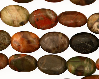 Red Forest Agate Flat Oval 14x10mm