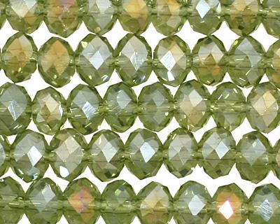 Olivine AB Crystal Faceted Rondelle 6mm