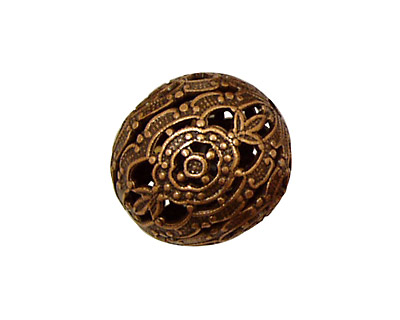 Stampt Antique Copper (plated) Filigree Ball 20mm