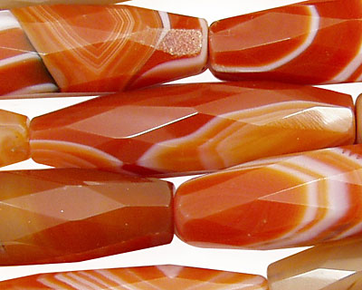 Carnelian (natural) Faceted Rice 40x13mm