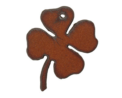 The Lipstick Ranch Rusted Iron Four Leaf Clover Pendant 39x52mm